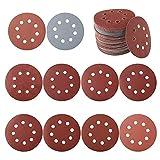 LIXIAONMKOP Disques de ponçage de forme ronde à 5 pouces de sable 100pcs 5 pouces de verre 80/180/240/320/400/800/1000 Draps de ponçage pour la ponceuse orbitale (Color : 1)