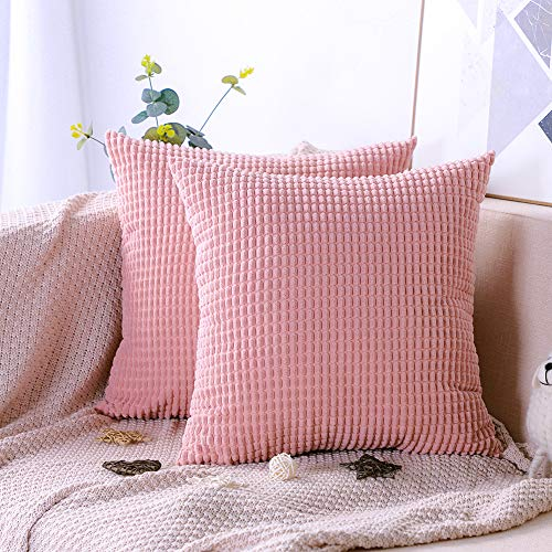 Artscope Pack of 2, Soft Corduroy Solid Color Cushion Covers Big Corn Decorative Square Pillowcases Throw Pillow Covers for Sofa Chair Bedroom Car 45x45cm/18x18 Inch (Pink)