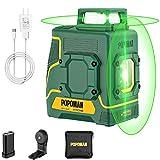 Livella Laser Verde 45M, POPOMAN 2x360° Linea Laser Croce, USB e 5200mAh Batteria al Litio,...