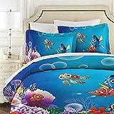 Findet Nemo gesteppte Tagesdecke, 3-teilig, Baumwolle, Patchwork, Tagesdecke, Super King Size, weiche Steppdecke 177 x 218 cm mit 2 Kissenbezügen 50 x 75 cm