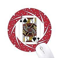 カード・スペードjパターンを演奏 円形滑りゴムの赤のホイールパッド