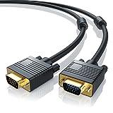 CSL - Full HD 2m VGA Monitorkabel 15pol - D-Sub-Stecker - S-VGA zu S-VGA Videokabel - VGA Kabel mit 1080p - geeignet für Monitore Fernseher LCD Plasma Projektor PC Notebooks - schwarz
