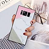 Pink Gray Marble Square Phone Case Cover for Samsung Galaxy S8 TPU Wrapped Edges and Hard PC Back 360 Degree Full Body Protection