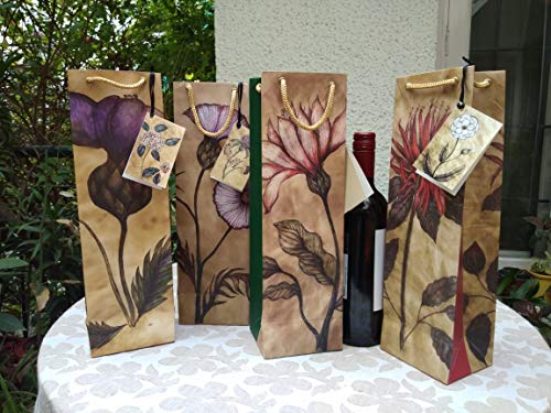 """FABLITTLEARTWORK Wine Bags – Set of 4 Bags (Size: 14.0"""" x 4.25"""" x 3.5"""")"""