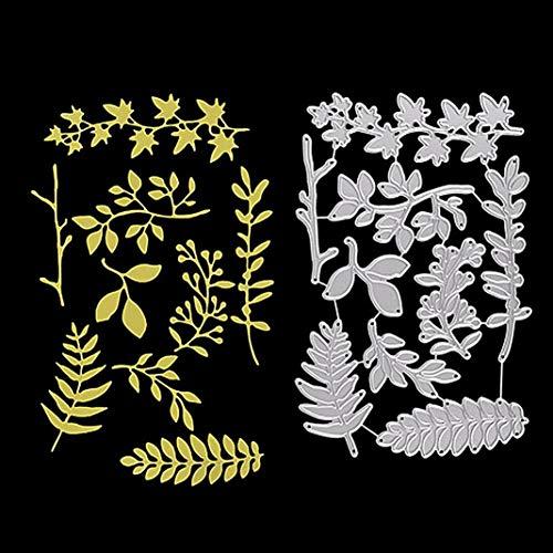 P12cheng troqueles de corte de metal, rama de hojas de árbol, troquelado, plantilla, manualidades, en relieve, invitaciones de boda, decoración de tarjeta de Pascua