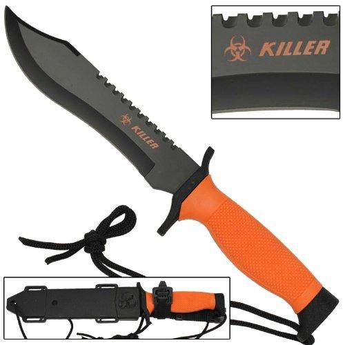 Armory Replicas Warning Zombie Killer Hazard Orange Survival Bowie Fixed Blade Knife