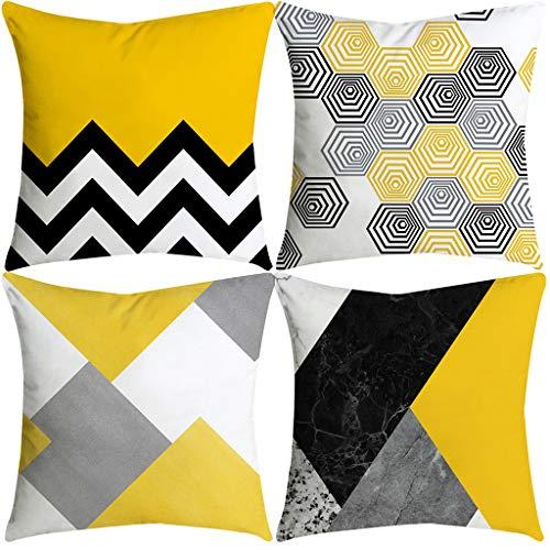 WINJIN Lot de 4 Housses de Coussins Home Canapé Maison Voiture décoratif Taies d'oreillers Pillowcases, Jaune Séries Noël