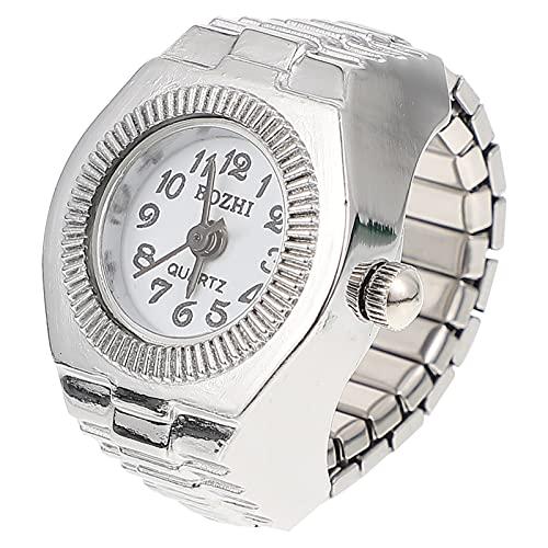 UKCOCO Reloj Creativo Elástico con Anillo de Dedo Reloj Redondo de Cuarzo Reloj con Forma de Anillo