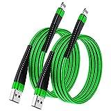 Paquete de 2 cables de 1 m, [certificado MFi para iPhone, cable de carga Apple Lightning a USB, nailon rápido para iPhone 12 11 10 XS Max XR X 8 Plus 7 6s 6 SE 5s 5c 5 iPad Mini (verde)