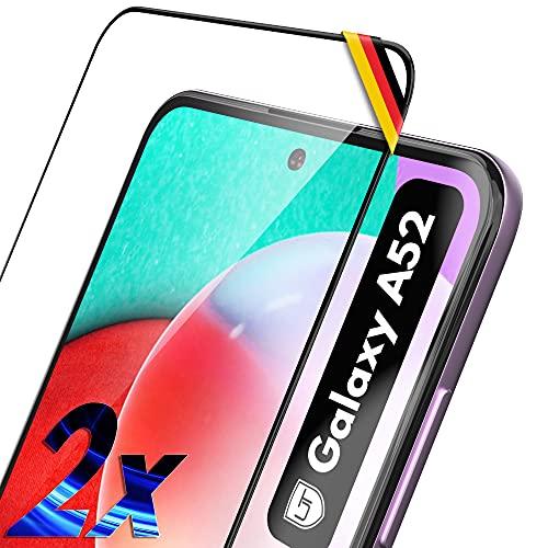 UTECTION 2X Full Screen Schutzglas für Samsung Galaxy A52 2021 - Fingerabdrucksensor kompatibel - 3D Schutzfolie gegen Displayschäden, Passgenaue Schutzglasfolie 9H Displayschutzfolie Glas