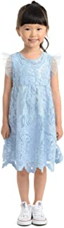 PIPPA & JULIE Susannah Girls Flutter Sleeve Dress with Embroidered Overlay