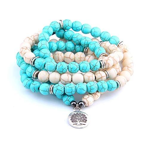 KEJI Pulsera Om De Piedra Turquesas Naturales Mujeres Y Hombres 108 Mala Yoga Lotus Joyería Collar Pulseras