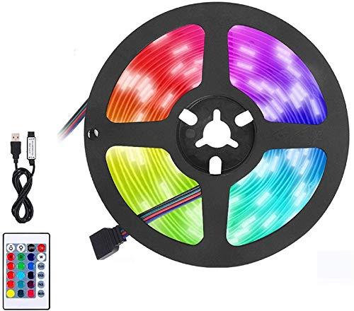 BACKTURE Striscia LED, 2M 60 LED RGB 5050 Luci LED Camera da Letto con Telecomando, Striscia Luminosa a LED con 16 Colori & 4 modalità Adatto per Decorazioni per Camera/TV/Casa