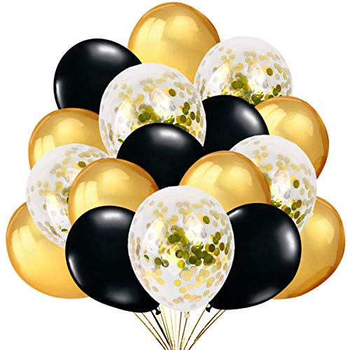 50 Globos Oro y Negro Globos de Confeti Confetti Balloon. Globo Transparente con Confeti Dorado para Fiesta de Cumpleaño, Graduacion y Año Nuevo