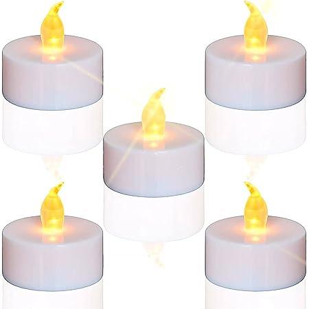 Lot de 24 bougies LED Bougies CR2032 piles Bougies Unscented Bougie chauffe-plat sans flamme claire vacillante 100 + heures de lumière électrique