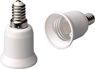 ZEYUN E14 a E27 Adaptador de portalámparas con base, ES a SES Ampliar Portalámparas, Edison Tornillo grande a Adaptador de...