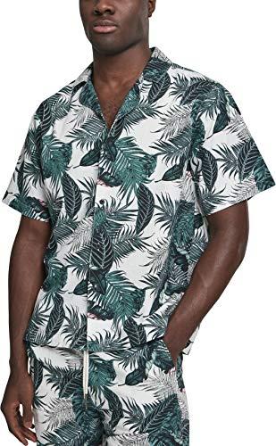 Urban Classics Herren Pattern Resort Shirt Freizeithemd, Mehrfarbig (Palm Leaves 01681), XXXX-Large (Herstellergröße: 4XL)
