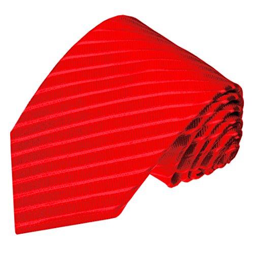 Lorenzo Cana - Rote Krawatte aus 100% Seide - Uni Seidenkrawatte Rot Ton in Ton Streifen - 84012