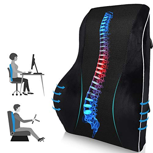 Lumbar Support Pillow/Back Cushion,Memory Foam Orthopedic Backrest with Breathable 3D Mesh for Office Chair, Car Seat, Wheelchair and Recliner, Large Ergonomic Back Pillow for Back Pain Relief, Black