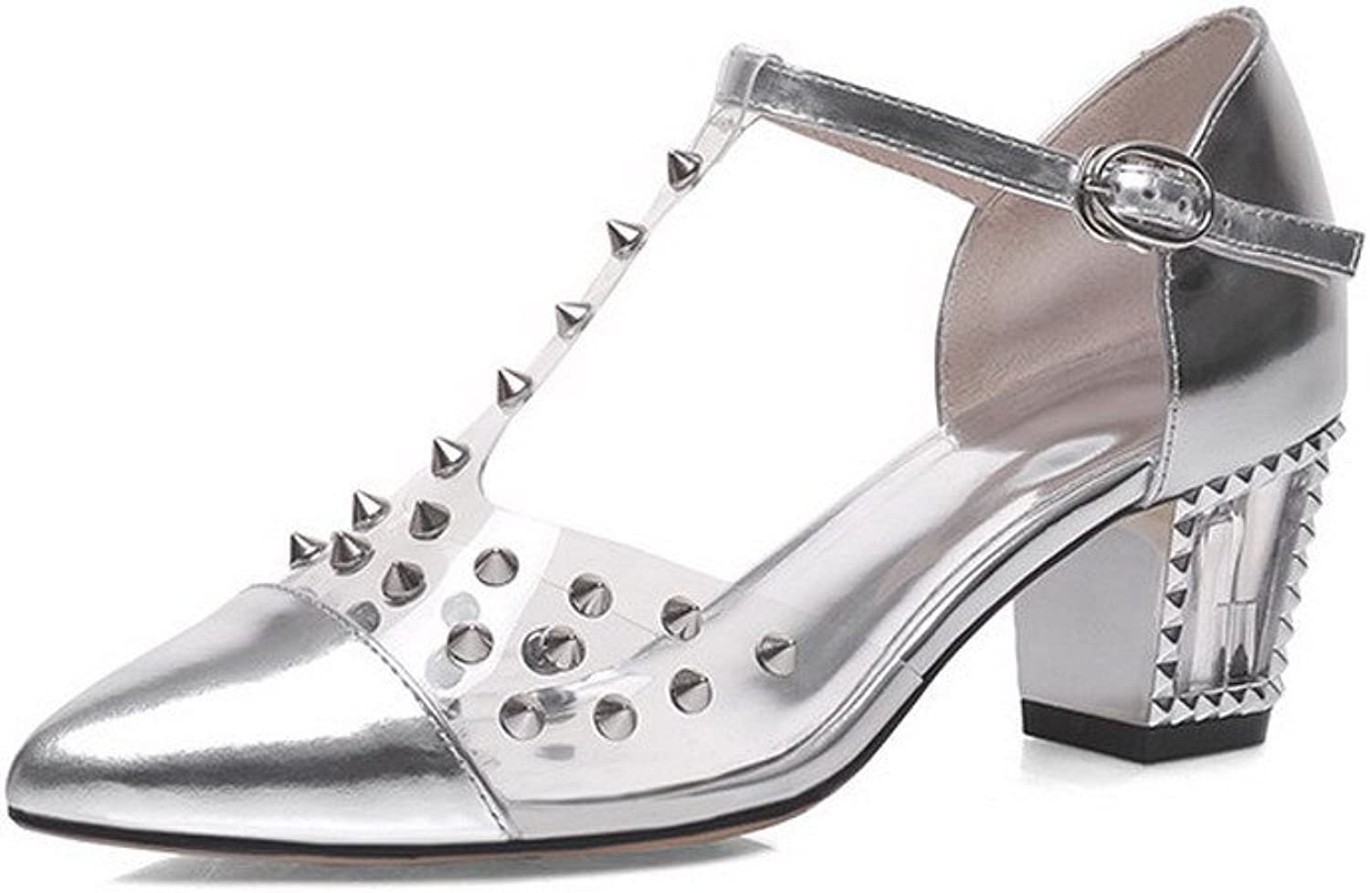 AllhqFashion Women's Closed Pointed Toe Cow Leather Kitten Heels Solid Sandals with Studded
