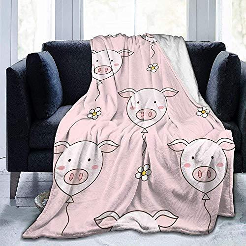 Naadloos patroon van schattige varken ballonnen en madeliefjes bloemen, Vector Illustratie, Doodle Style Bed deken en gooien