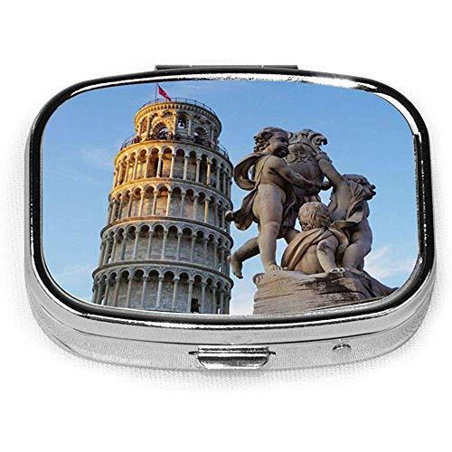 Estuche cuadrado para pldoras con forma de vitamina porttil y torre de Pisa con bandera de Italia, organizador de cajas de pldoras de bolsillo con compartimento