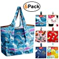 REGER Reusable Grocery Shopping Bags Bulk Pack 5 Foldable Grocery Bags Fit Built-in Pouch 50LB Ripstop Polyester Grocery Shopping Tote Bags Cute Gift Bag LightWeight Flat Bottom