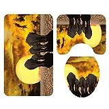 AnjaKD Grupo De Elefantes Patrón Alfombrilla De Baño, Cuarto De Baño, Cojín, Alfombra De Tres Piezas, Absorbente, Que No Se Desvanece, Set Salvaje De Cómodas Alfombras De Baño Lavables A Máquina