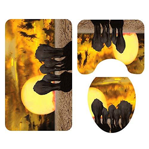 ETH Grupo De Elefantes Patrón Alfombrilla De Baño, Cuarto De Baño, Cojín, Alfombra De Tres Piezas, Absorbente, Que No Se Desvanece, Set Salvaje De Cómodas Alfombras De Baño Lavables A Máquina Durable