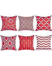 Topfinel set van 6 kussenslopen Kwaliteit kussenhoezen in canvas met geometrische patronen voor autoterras decoratieve kussenslopen serie