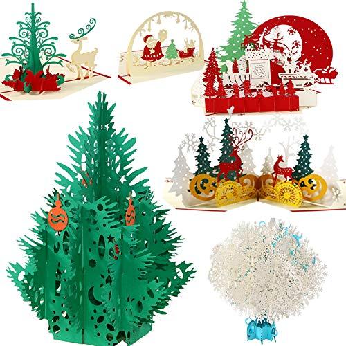 3D Tarjetas de Navidad 6 Piezas, YOUNGSZ 3D Pop Up Cards Hechas a Mano Postales Tarjetas de Agradecimiento, Tarjeta de Regalo...