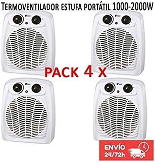 Calefactor Estufa Termoventilador portatil 1000-2000W Termostato regulable. Protección contra sobrecalentamiento. Función de aire frío. Pack 4 calefactores