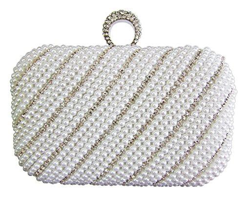 Elegante Damen Clutch Abendtasche Pearl - Weiß - Damen Handtasche mit Perlen und Strass