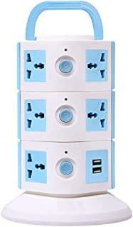 Impro Tower Spike Buster - 3 Floor - 2 USB 11 Socket Surge Protector (White, Blue)