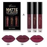 Ularma 3pcs Nouveau Mode Matte imperméable Rouge à lèvres liquide Cosmétiques Kit...