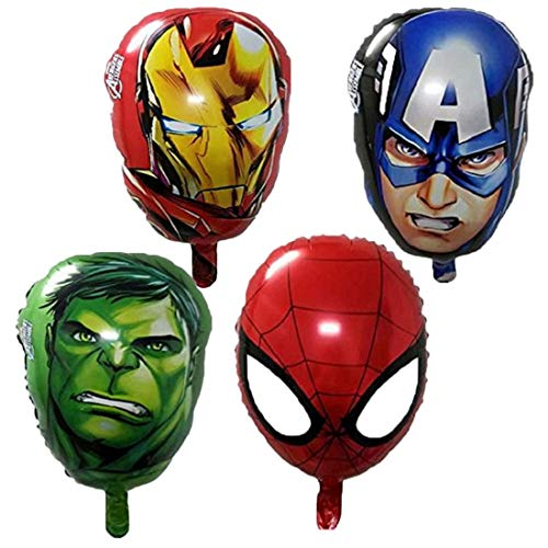 ELSANI 4-pack Superhero Birthday Party Mylar Foil Balloon Avengers Super Hero Birthday Party Supplies Party Decorations(Spiderman/Ironman/Hulk/Captain America)