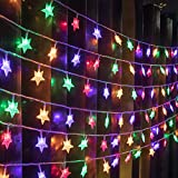 AWQ 100 LED 49 FT Star String Lights Plug in Fairy Twinkle String Lights 8 Modes Extendable for Indoor Outdoor Wedding Birthday Christmas Tree Garden Decor (Multicolor)