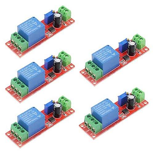 SODIAL 5 Piezas 12V NE555 0-10 Segundos MóDulo de Retardo Regulador de Corriente Constante Retardo de Temporizador de Alta Eficiencia de Alta Potencia