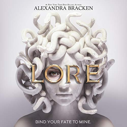 Lore cover. White medusa with one golden eye open and LORE in gold letters.