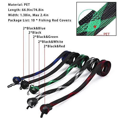 "ZHENDUO OUTDOOR 10Pcs Fishing Rod Sleeve Rod Socks 67/""//74.8/"" Bait Casting Sea"