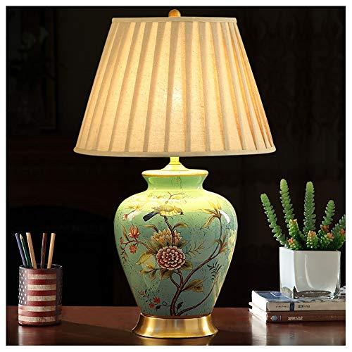 Lámparas de mesita de noche, lámpara de mesa, estilo retro, de cerámica, lámpara de mesa americana, antigua, tejido de cobre, lámpara de mesita de noche completa en la sala de estar, dormitorio