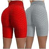 Dosoop Women High Waisted Yoga Pants Sports Gym Ruched Butt Lifting Workout Running Fitness Hot Leggings Biker Shorts 2Pcs