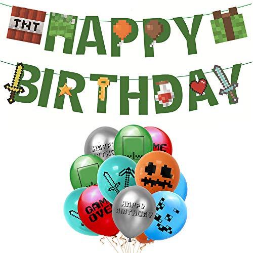 Suministros para Fiestas de Videojuegos Happy Birthday Gaming Banner, 24PCS Video Game Party Balloons Globos de cumpleaños para Juegos de 12 Pulgadas para Miner Gamer Party Favors
