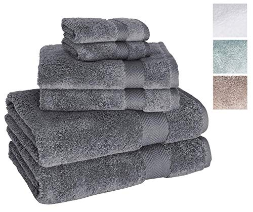 Towels Beyond 6 Piece Bath Towel Set - Luxury Plush Quality Hotel and Spa Towels Made with 100% Turkish Cotton (Grey)