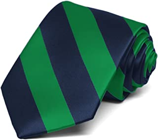 TieMart Boys' Kelly Green and Navy Blue Striped Tie