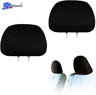 Yupbizauto 2X Cars Trucks & Cover DVD tv Monitors Solid Black Polyester Universal Headrest Covers with Foam Backing- Set of 2