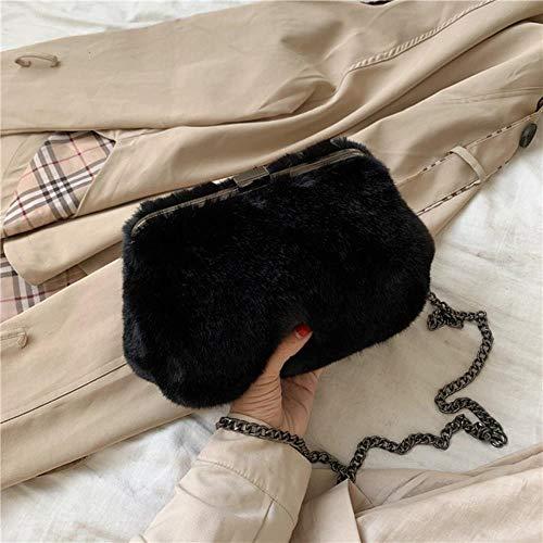 VIE Mode Damen Umhängetaschen Weibliche Kleine Clutch Abendtaschen Kette Damen Umhängetaschen, Schwarz1,21 X 8 X 14 cm