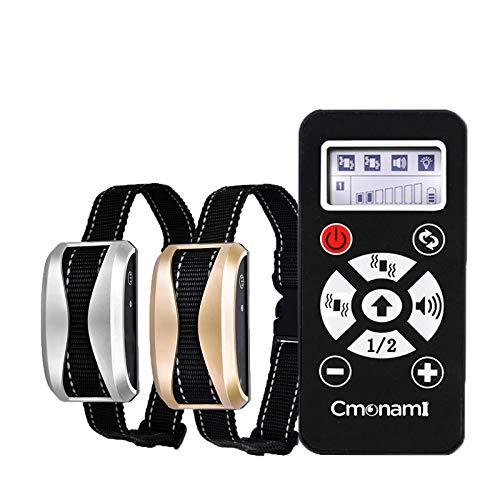 Cmonami Collar adiestramiento para Perros Collar de adiestramiento a Distancia para Perros Recargable con Modo de vibración/automático/Sonido, IP65 Resistente al Agua, hasta 730 Metros de Alca