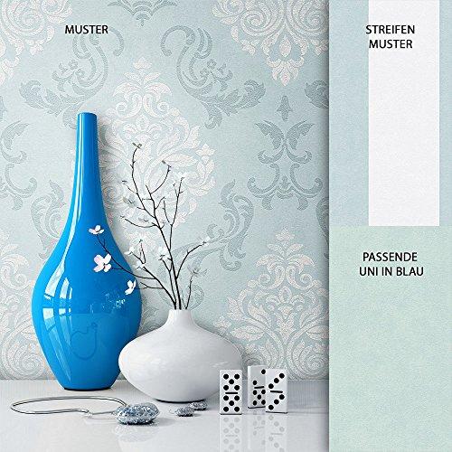NEWROOM Barocktapete Tapete Blau Ornament Barock Vliestapete Weiß Vlies moderne Design Optik Barocktapete Wohnzimmer Glamour inkl. Tapezier Ratgeber