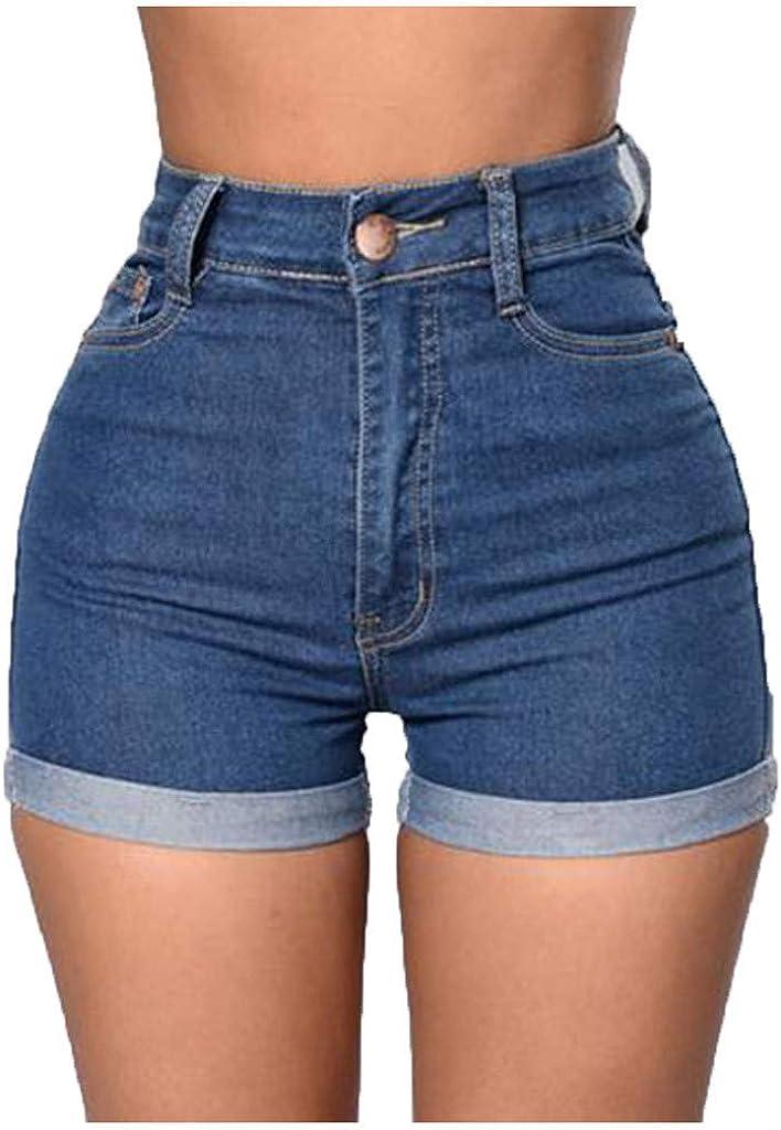 PMUYBHF High Rise Skinny Jeans Shorts for Womens Stretchy Denim Shorts Folded Hem Denim Pants